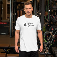 Load image into Gallery viewer, Achieve the Dream white t-shirt with our ballwalk logo. Achieve the Dream is written in black text and our ballwalk logo is also in black.