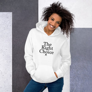 The Right Choice white hooded sweatshirt with our ballwalk logo. The Right Choice is written in black text and our ballwalk logo is also in black.