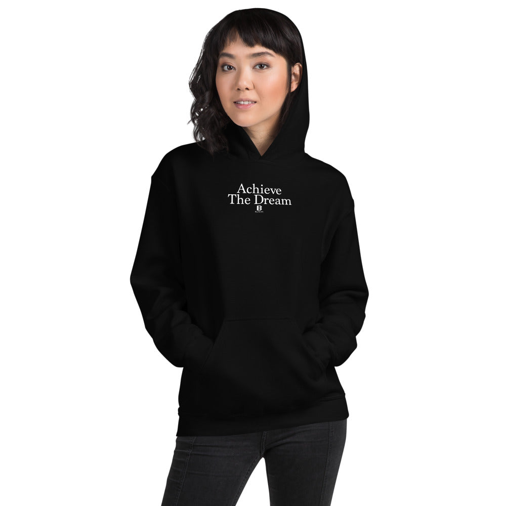 Achieve the Dream black hooded sweatshirt with our ballwalk logo. Achieve the Dream is written in white text and our ballwalk logo is also in white.