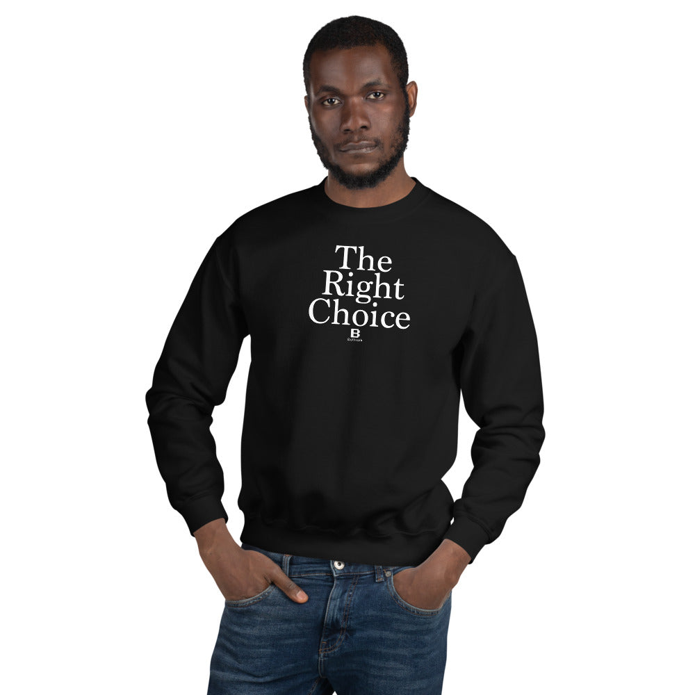 The Right Choice black sweater with our ballwalk logo. The Right Choice is written in white text and our ballwalk logo is also in white