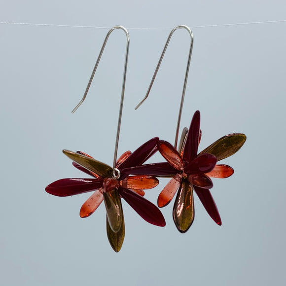 Shelalee Natalie Earrings in Red Brown Czech Glass Beads Sterling Silver