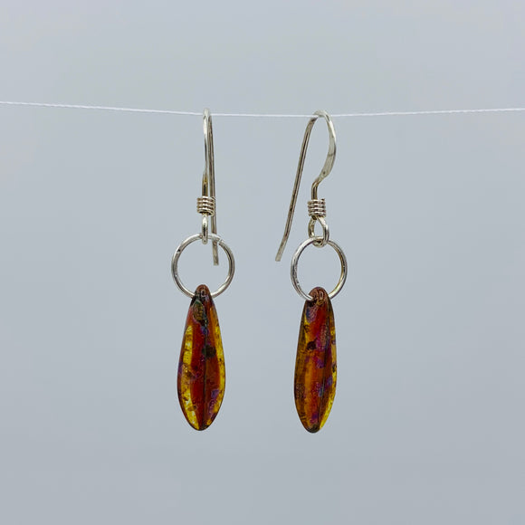 Shelalee Jane Earrings in Brown Czech Glass Beads Sterling Silver