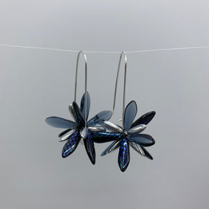 Shelalee Eileen Earrings Metallic Navy Blue Czech Glass Beads Sterling Silver