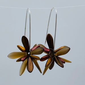 Shelalee Eileen Earrings Brown Czech Glass Beads Sterling Silver