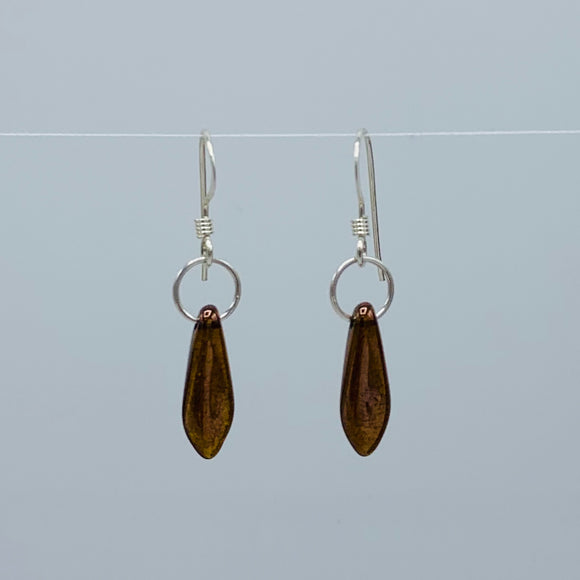 Shelalee Jane Earrings in Bronze Czech Glass Beads Sterling Silver