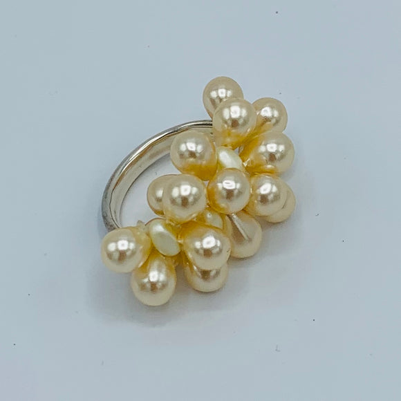 Shelalee Petra Ring in Pearly White Czech Glass Beads