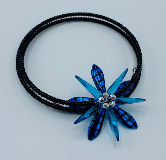 Zoe Beaded Bracelet with Sapphire Blue Flower