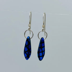 Shelalee Jane Earrings in Blue Czech Glass Beads Sterling Silver