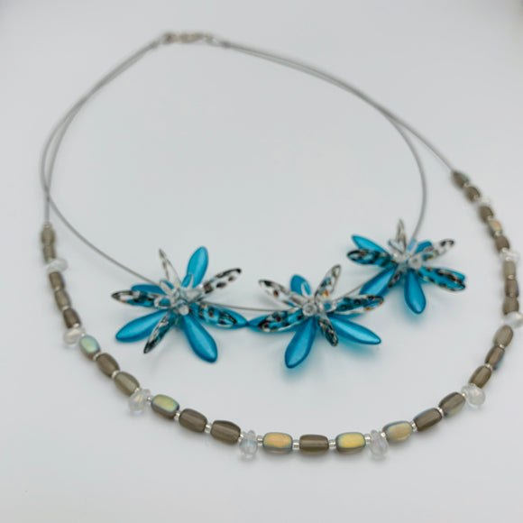 Shelalee Anna Beaded Double Necklace Turquoise Czech Glass Beads