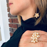 Shelalee Petra Ring Erica Earrings in Pearly White Czech Glass Beads