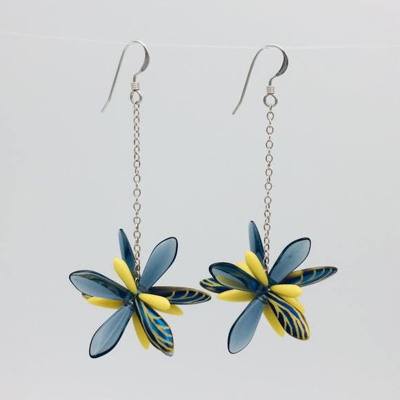 Shelalee Laura Earrings in Blue Yellow Laser Edged Czech Glass Beads Sterling Silver