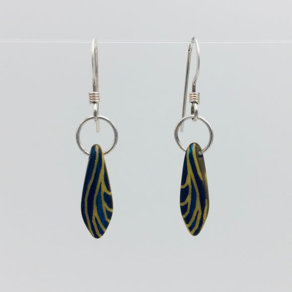 Shelalee Jane Earrings in Laser Edged Blue Yellow Czech Glass Beads Sterling Silver
