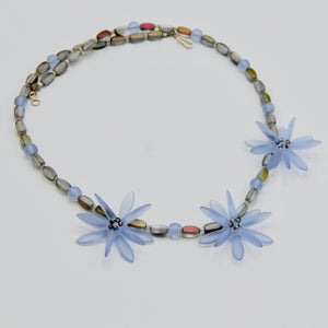 Anna Beaded Necklace in Matte Frosty Blue with Gray Accent