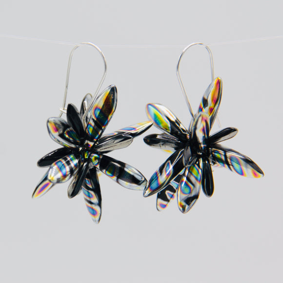 Shelalee Eileen Earrings Metallic Black Silver Czech Glass Beads Sterling Silver