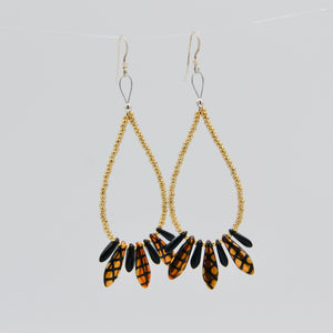 Shelalee Amanda Earrings Metallic Gold Black Crosshatch Czech Glass Beads Sterling Silver