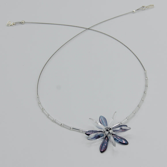 Elizabeth Beaded Necklace in Iris Purple with Silver Center