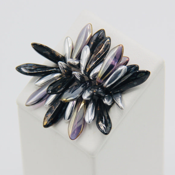 Shelalee Wendy Ring Black Stone Grey Silver Touch Purple Czech Glass Beads