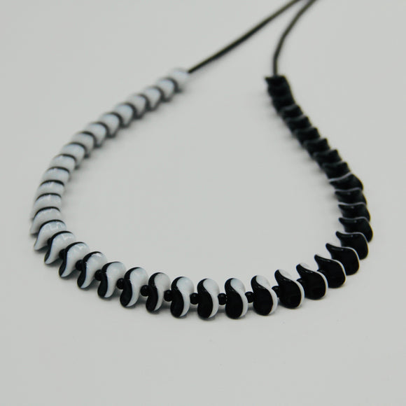 Shelalee Vivienne Necklace  Black and White Czech Glass Beads