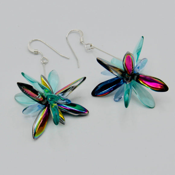 Shelalee Eileen Earrings in Turquoise Shiny Multicolor Silver Accents
