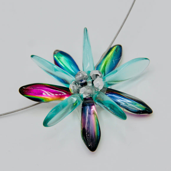 Elizabeth Necklace in Turquoise with Shiny Multicolor and Silver Accents