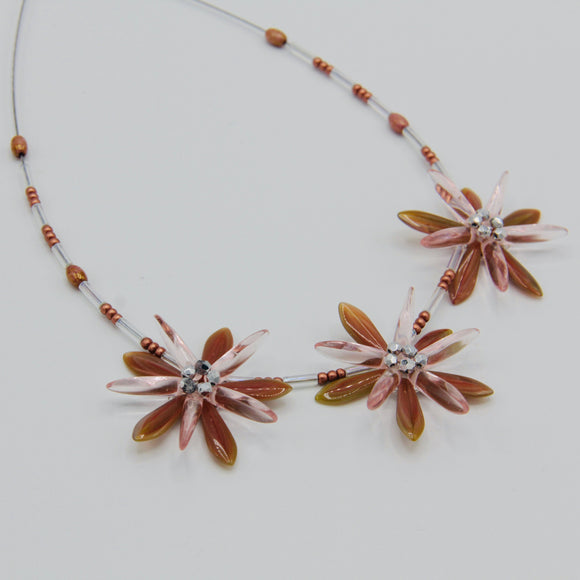 Shelalee Anna Beaded Necklace Coral Pink Olive Green Silver Crystal