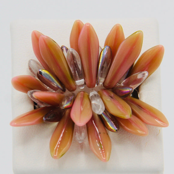 Shelalee Wendy Ring Coral Pink Olive Green Silver Crystal