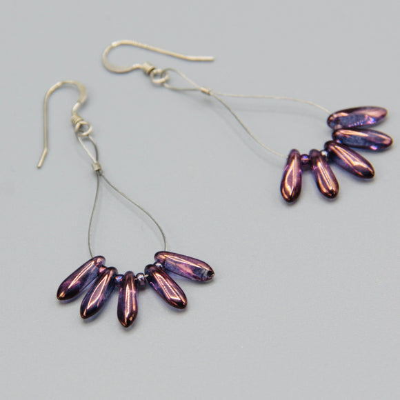 Amanda Earrings in Purple with Bronze Accent