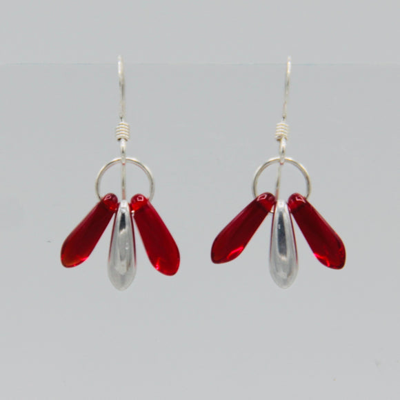 Janet Earrings in Red and Silver