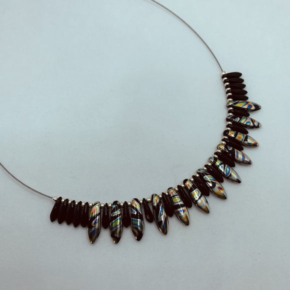 Rebecca Necklace in Black with Metallic Silver