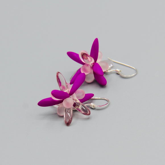Mia Earrings in Neon Purple Matte