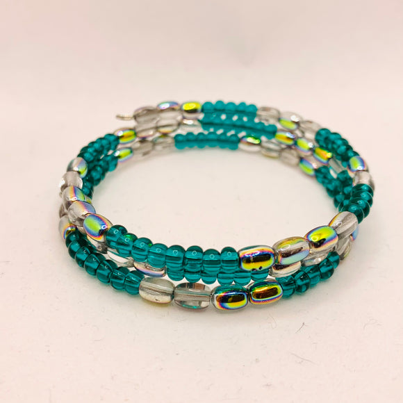 Whitney Bracelet in Transparent Green with Metallic Rainbow