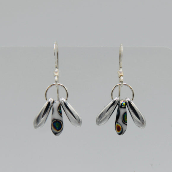 Janet Earrings in Silver with Rainbow Polkadots