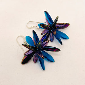Emma Earrings in Metallic Laser-Etched Black and Blue