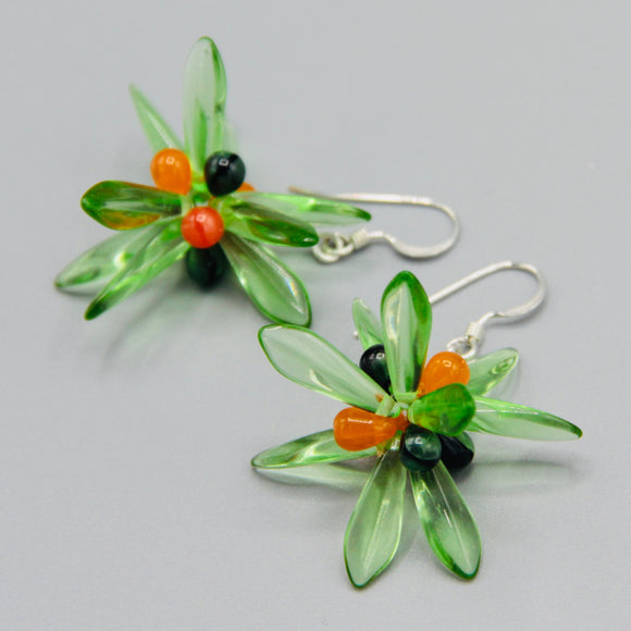 Emma Earrings in Green with Orange Accents