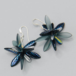 Emma Earrings in Metallic Blue with Silver Accent