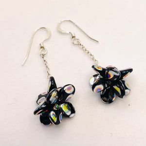 Heather Earrings in Black with Metallic Rainbow Dots