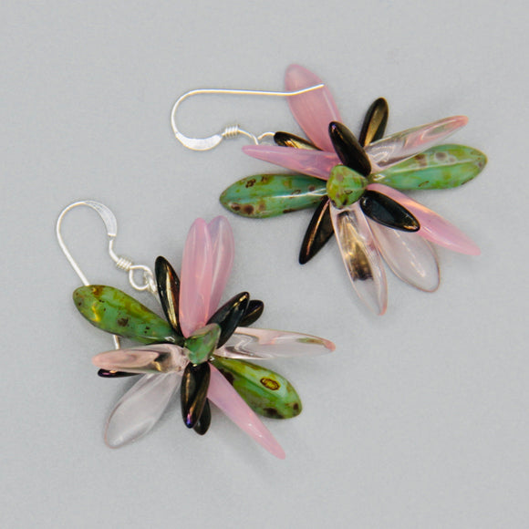 Emma Earrings in Pink and Green with Bronze Accents
