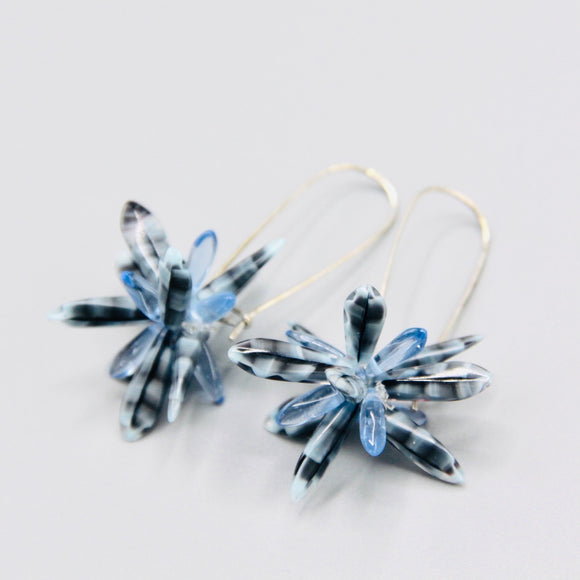 Eileen Earrings in Black and Blue Marble Design