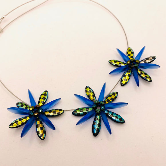 Anna Necklace in Black with Laser Etched Metallic Checkers and Blue