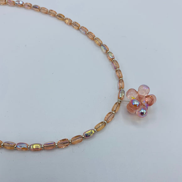 Beatrice Beaded Necklace in Shiny Light Pink