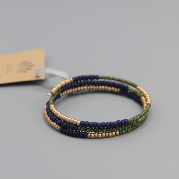 Whitney Bracelet in Green, Navy Blue and Matte Gold