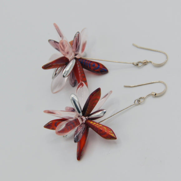 Emma Earrings in Red Laser Etched Metallic Peacock Design with Pink and Silver