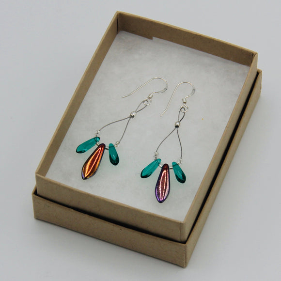 Janet Maxi Earrings in Shiny Multicolor and Turquoise with Silver