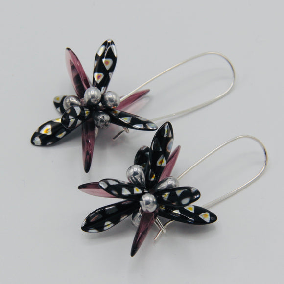 Eileen Earrings in Metallic Black and Purple