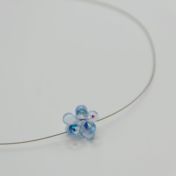 Shelalee Beatrice Necklace Shiny Light Blue Czech Glass Beads Sterling Silver