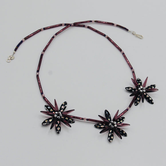 Anna Beaded Necklace in Black Metallic and Dark Purple