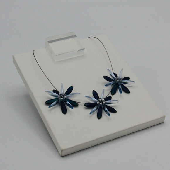 Anna Necklace in Blue Iris with Crystal Transparent Blue