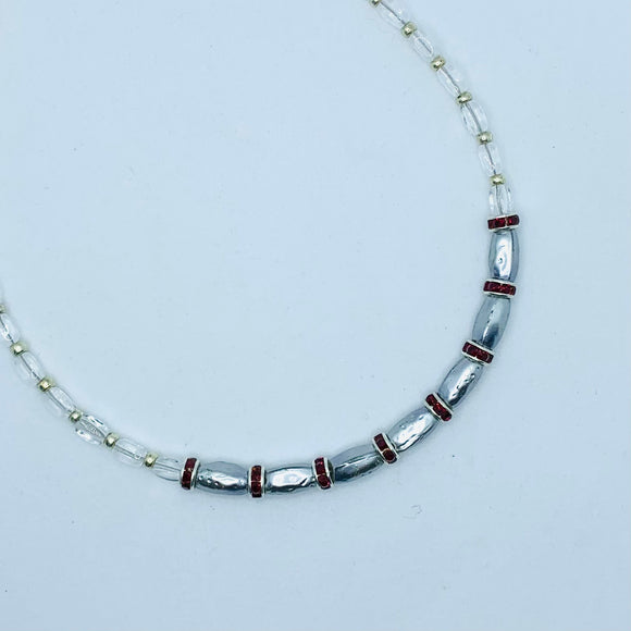 Nora Necklace in Silver with Red Rhinestones