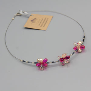 Trixie Beaded Necklace in Bright Pink and Creamy Pearl