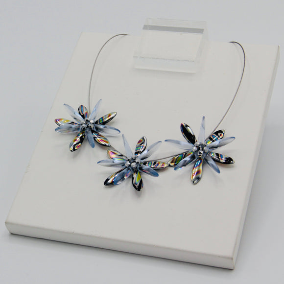 Anna Necklace in Black Metallic Silver with Light Blue